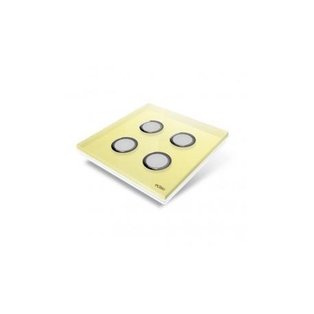 EDISIO - Plaque de recouvrement Diamond - Jaune 4 touches