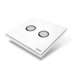 EDISIO EFP-W02 - Interrupteur Elegance Blanc 2 Touches Base Blanche