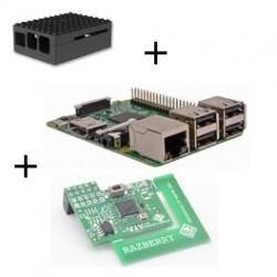 Lampone Lampone Pi3 B Modello (WiFi e Bluetooth) con adattatore Z-wave Plus, scatola di Lego nero