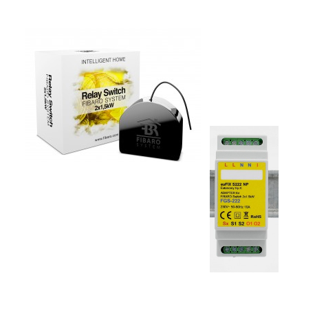 FIBARO FGS-222 - Module switch double Z-Wave and More with support for DIN rail