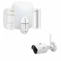 Alarme Ajax Starter Kit HUB Plus - Alarme sans fil avec caméra IP 4 Mégapixels